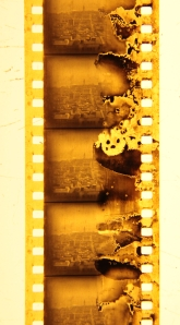 An aerial shot looking down Market Street. This section, taken from the beginning of the movie shows deterioration typical to nitrate film stock.