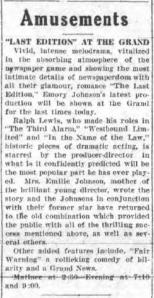 Gloversville, New York, Morning Herald, 17th April 1925 review (from the Johnstown page)